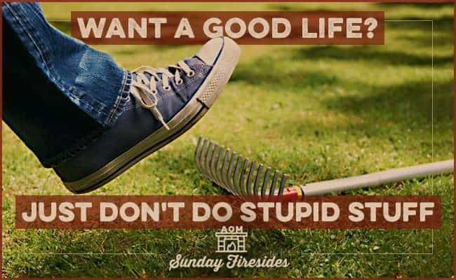 Sunday Firesides: Want a Good Life? Just Don't Do Stupid Stuff