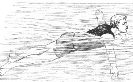Illustration of a swimming man.