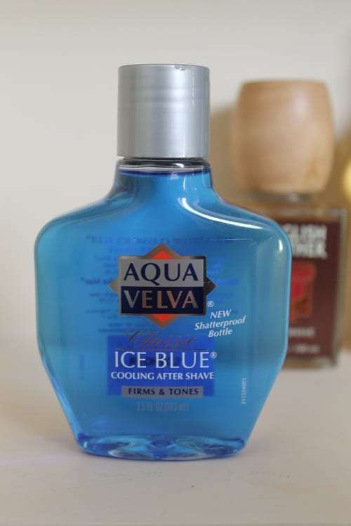 Aqua Velva ice blue aftershave bottle.