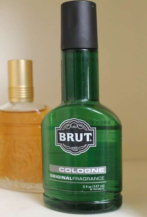 Brut men's cologne fragrance green bottle.
