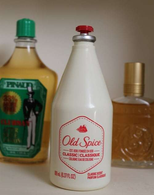 Vintage Old Spice classic cologne white bottle.