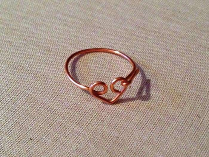 Wire heart ring.