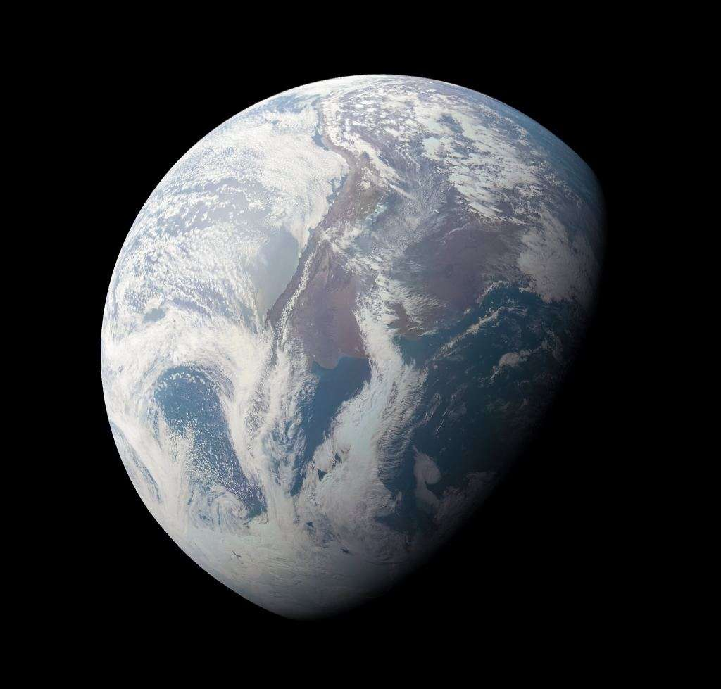 The Jupiter system isn't the only place Juno has turned its camera on.  It took this image of Earth during a gravity assist flyby of our planet in 2013.