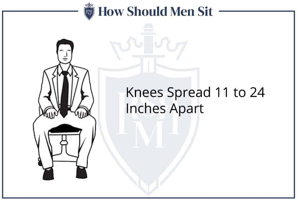 men sitting with knees spread