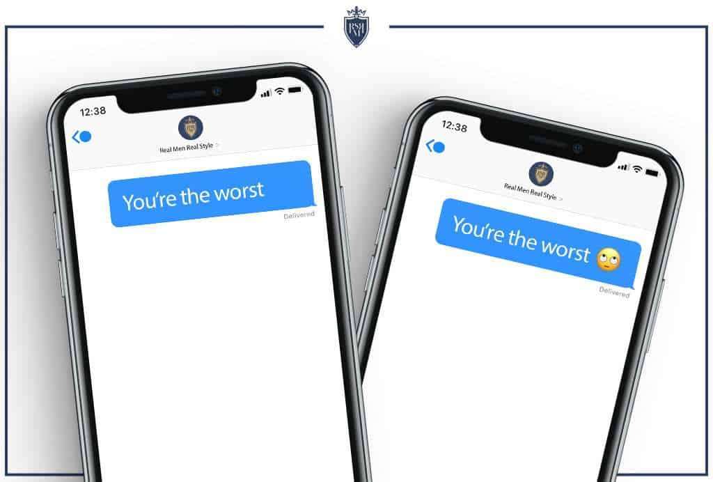 iphone screen showing messages with and without emojis