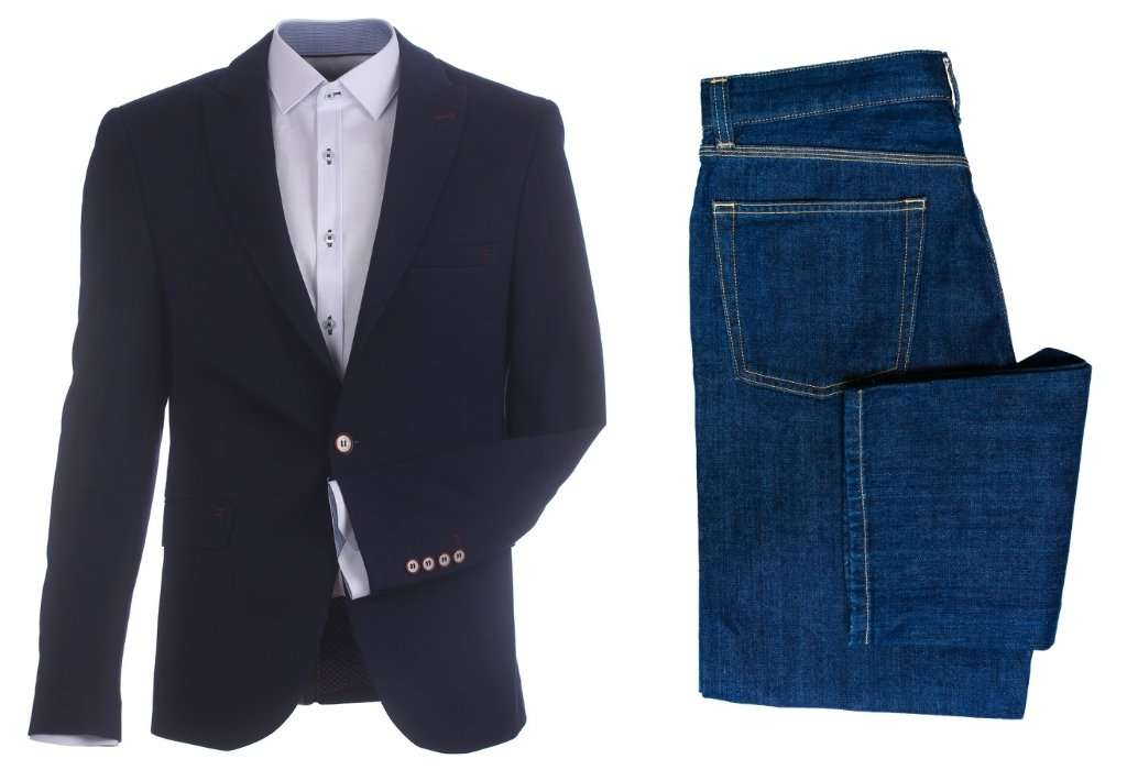 a blazer and jeans