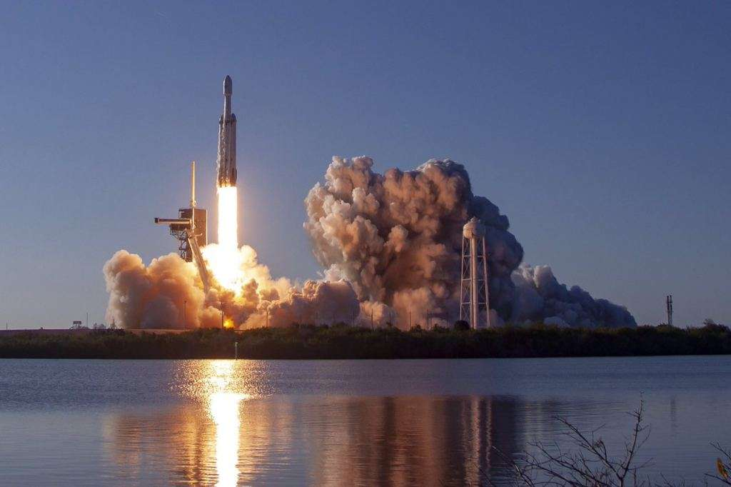 The first commercial launch (and second successful launch) of the SpaceX Falcon Heavy.
