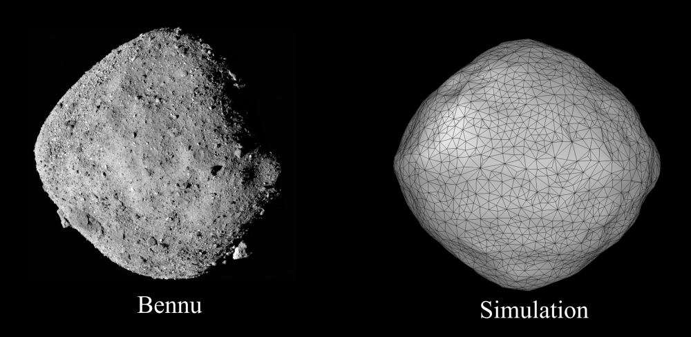 On the left is an image of asteroid 101955 Bennu. On the right is a modelled simulation from the study. The model clearly matches the diamond shape of the asteroid. Image Credit: Sabuwala et al