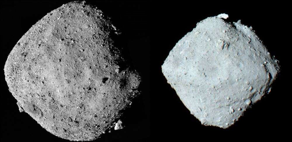 The near-Earth asteroids Bennu (l) and Ryugu (r). Both are rubble-pile asteroids and both are diamond-shaped. Image Credit Left: NASA/Goddard/University of Arizona - Public Domain. Image Credit Right: By ISAS/JAXA, CC BY 4.0