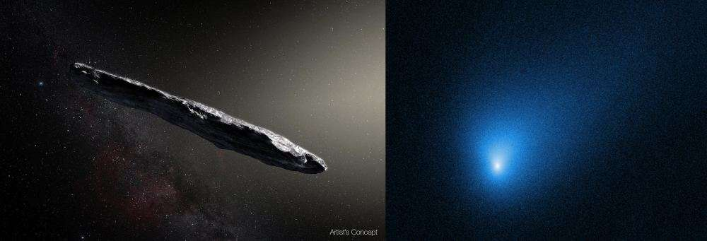 On the left is an artist's illustration of the interstellar object 'Oumuamua. On the right is an image of interstellar comet 2I/Borisov. Image Credit Left: European Southern Observatory / M. Kornmesser. Image Credit Right: By NASA, ESA, and D. Jewitt (UCLA) - Public Domain