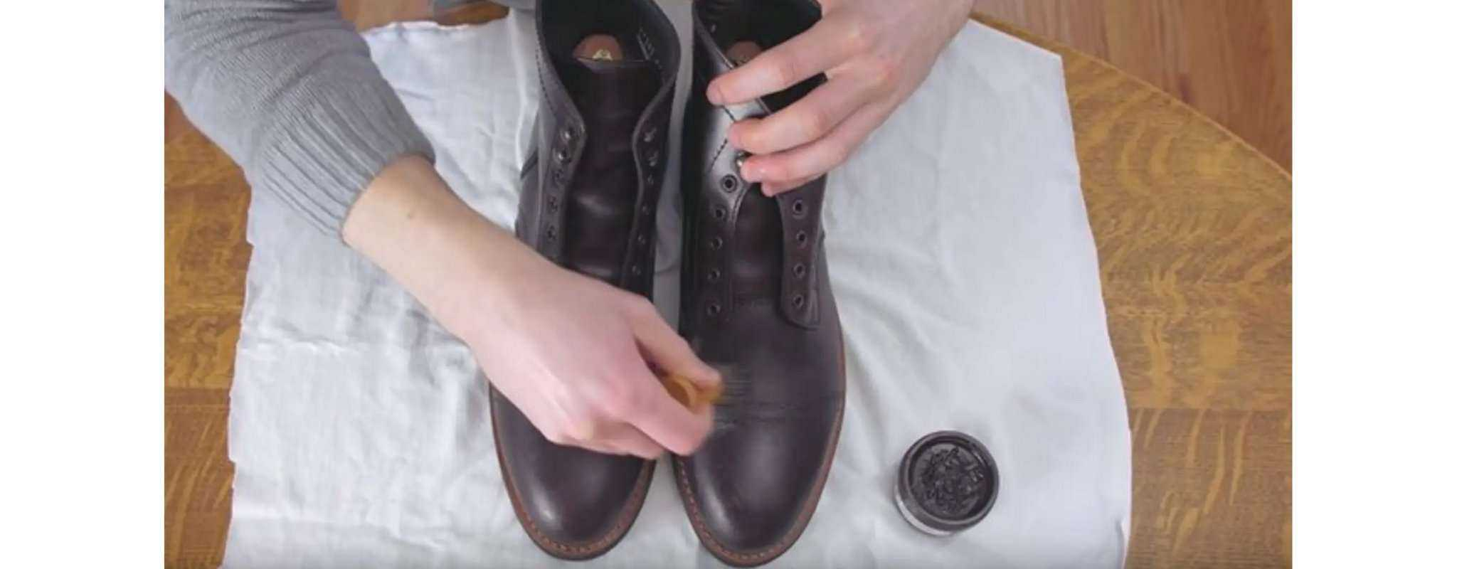 polish leather boots with wax